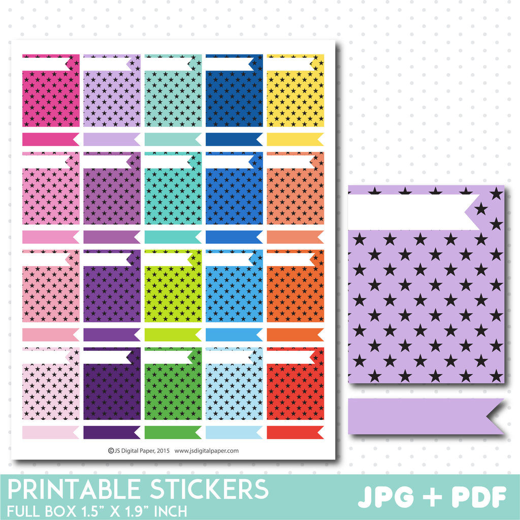 Star box stickers, Full box planner stickers, Full box star stickers, STI-784