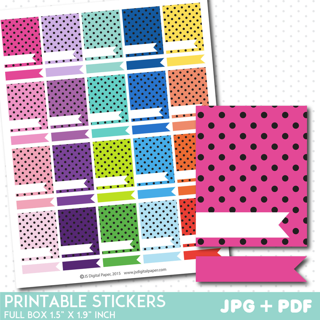 Polka dot box stickers, Full box planner stickers, Full box star stickers, STI-789