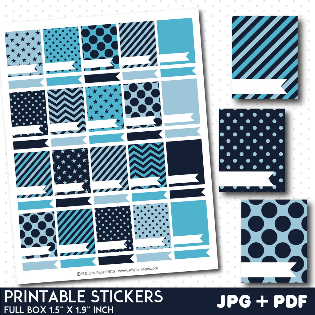 Blue blank box stickers, Full box planner stickers, Full box stickers, STI-790