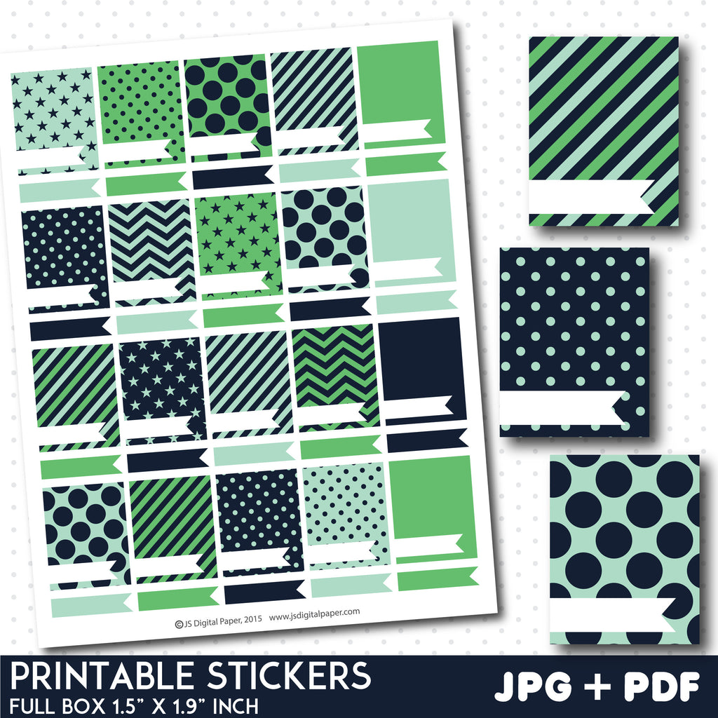 Green and mint blank box stickers, Full box planner stickers, Full box stickers, STI-798