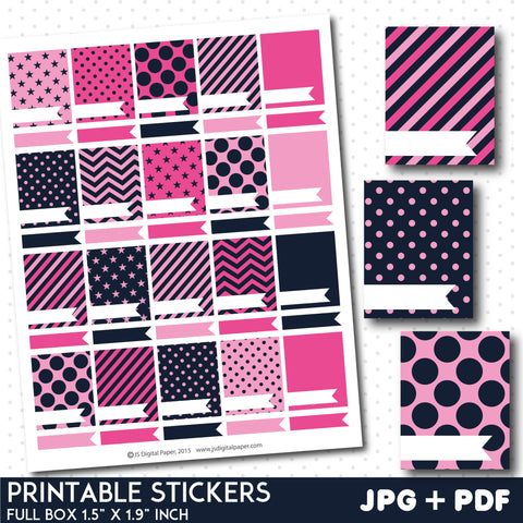 Hot pink blank box stickers, Full box planner stickers, Full box stickers, STI-800