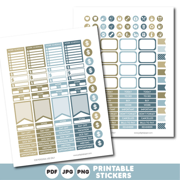Beige and blue planner stickers, Printable planner stickers, STI-801