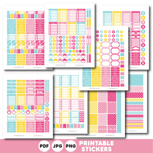 Yellow and pink planner stickers, Printable planner stickers, STI-806