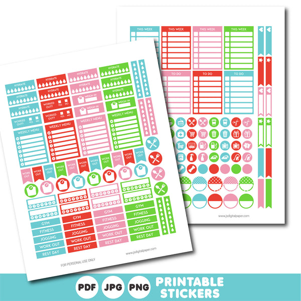 Red, green and blue planner stickers, Printable planner stickers, STI-809