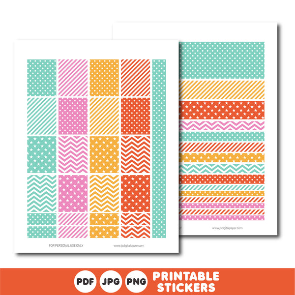 Turquoise and orange planner stickers, Printable planner stickers, STI-810