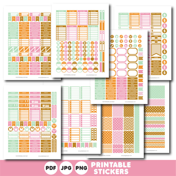 Mint, pink and orange planner stickers, Printable planner stickers, STI-815