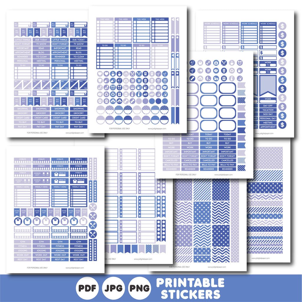 Purple planner stickers, Printable planner stickers, STI-820