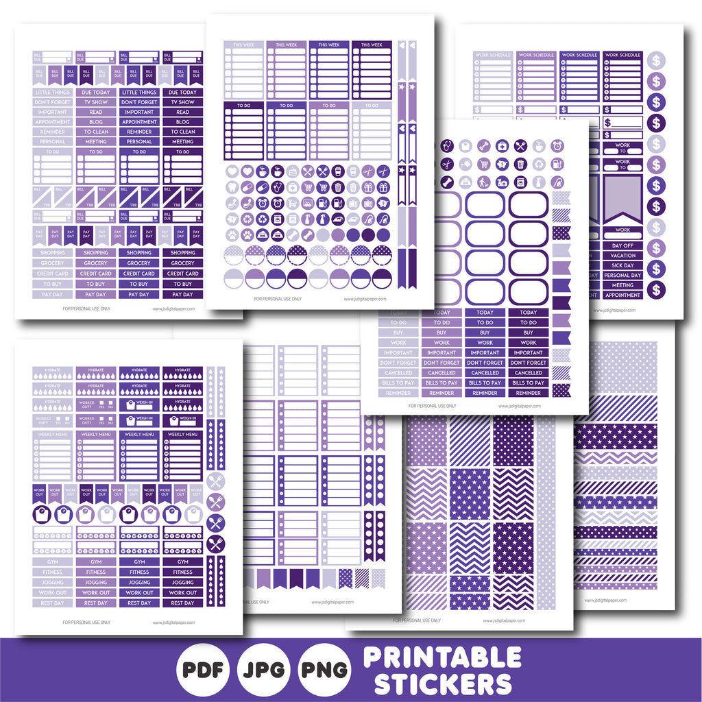 Dark purple planner stickers, Printable planner stickers, STI-821