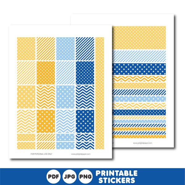 Yellow and blue planner stickers, Printable planner stickers, STI-825