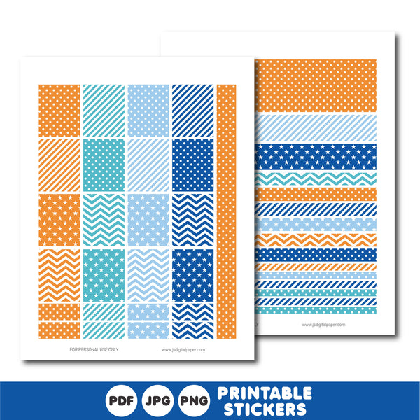 Turquoise, blue and orange planner stickers, Printable planner stickers, STI-828