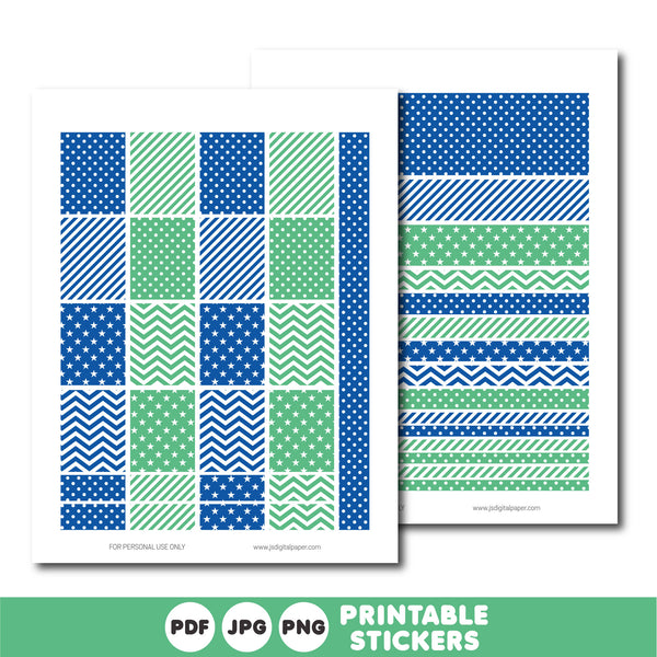 Royal blue and turquoise planner stickers, Printable planner stickers, STI-833