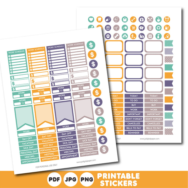 Printable weekly planner stickers, STI-875