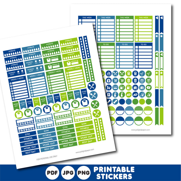 Printable green and blue weekly planner stickers, STI-877
