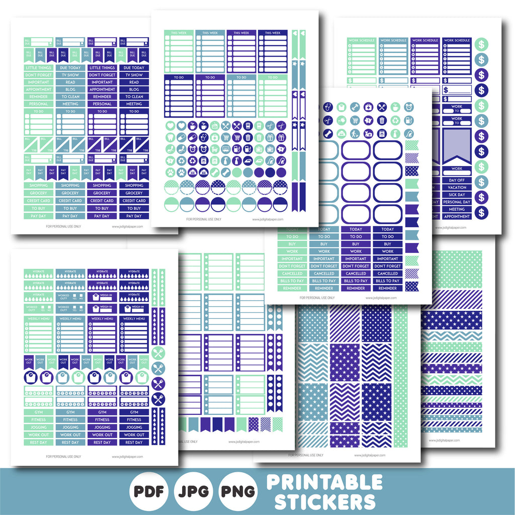 Printable purple weekly planner stickers, STI-878