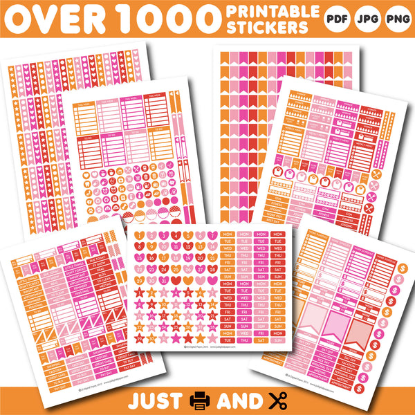 Pink monthly stickers, Pink planner stickers, Pink printable stickers, STI-884