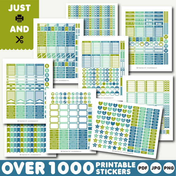 Green monthly stickers, Green planner stickers, Green printable stickers, STI-887