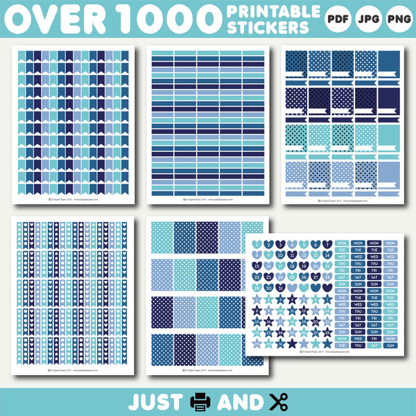 Turquoise monthly stickers, Blue planner stickers, Turquoise printable stickers, STI-891