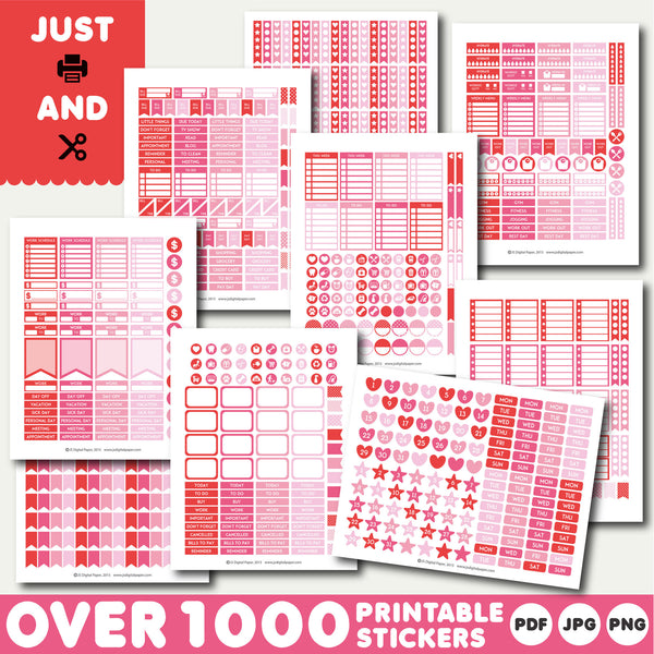 Hot pink monthly stickers, Hot pink planner stickers, Hot pink printable stickers, STI-892