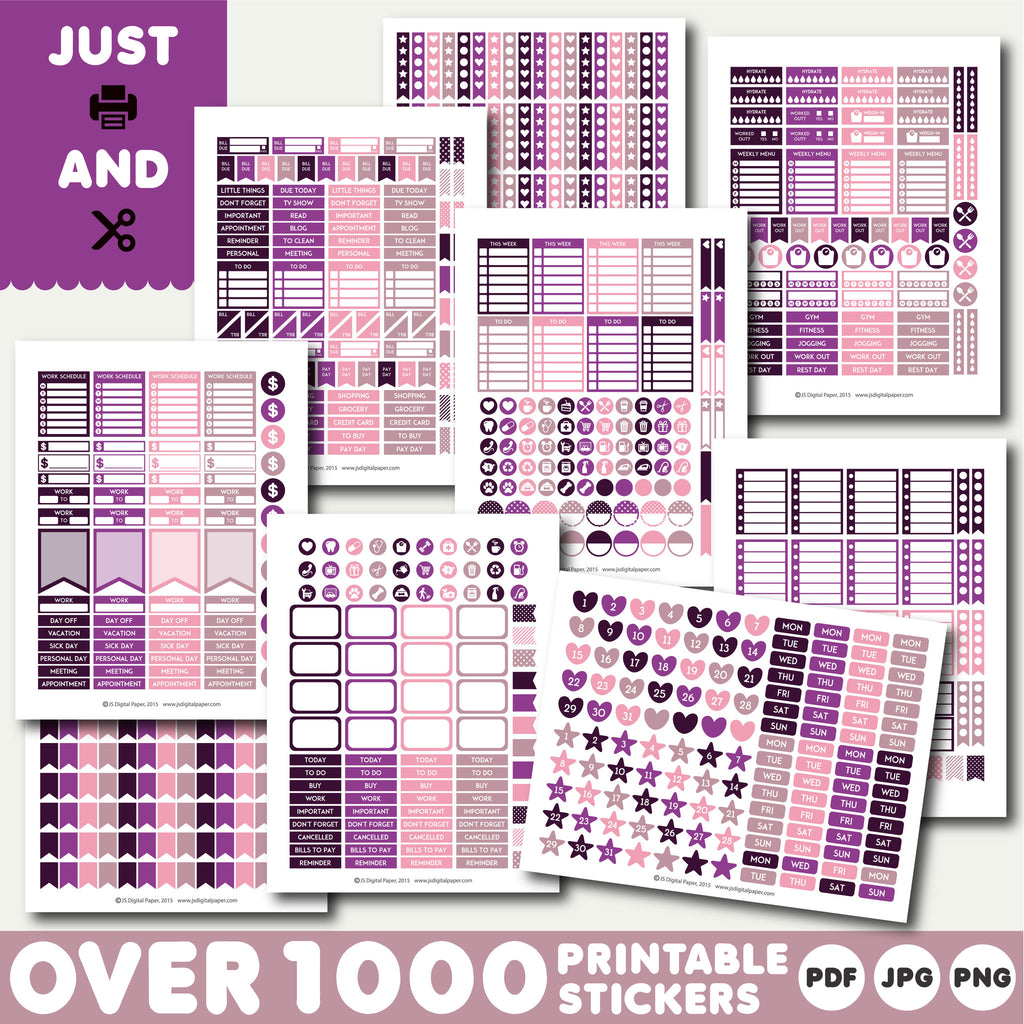 Plum purple monthly stickers, Plum purple planner stickers, Plum purple printable stickers, STI-894