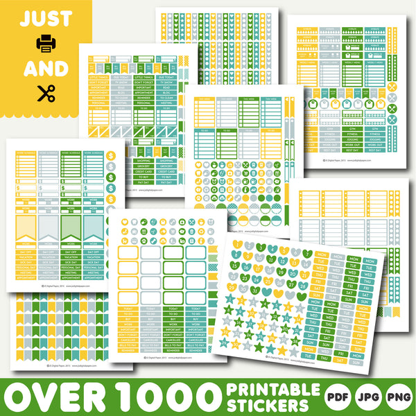 Green and yellow monthly stickers, Yellow and green planner stickers, Green printable stickers, STI-900