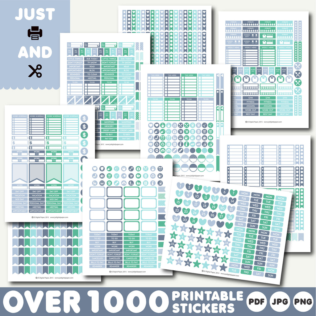 Monthly stickers, Planner stickers, Printable stickers, STI-901