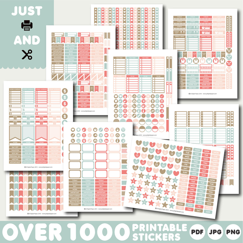 Brown and Pink Monthly planner stickers, Printable stickers, STI-913