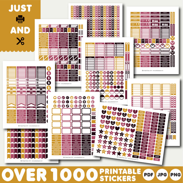 Wine red Monthly planner stickers, Printable stickers, STI-914