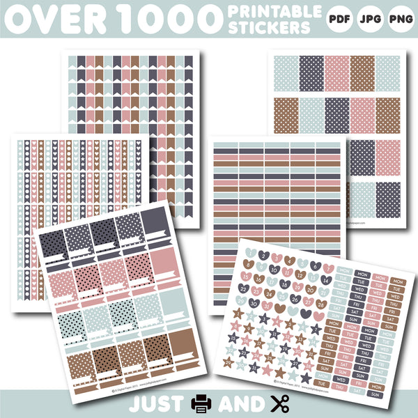 Pink and brown Monthly planner stickers, Printable stickers, STI-915