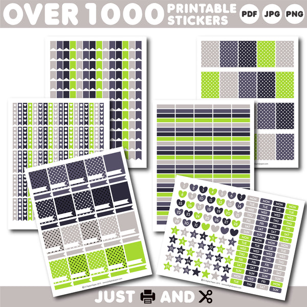 Plum and green Monthly planner stickers, Printable stickers, STI-920