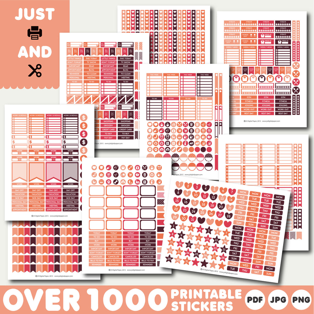 Orange and coral Printable stickers, Monthly planner stickers, STI-923