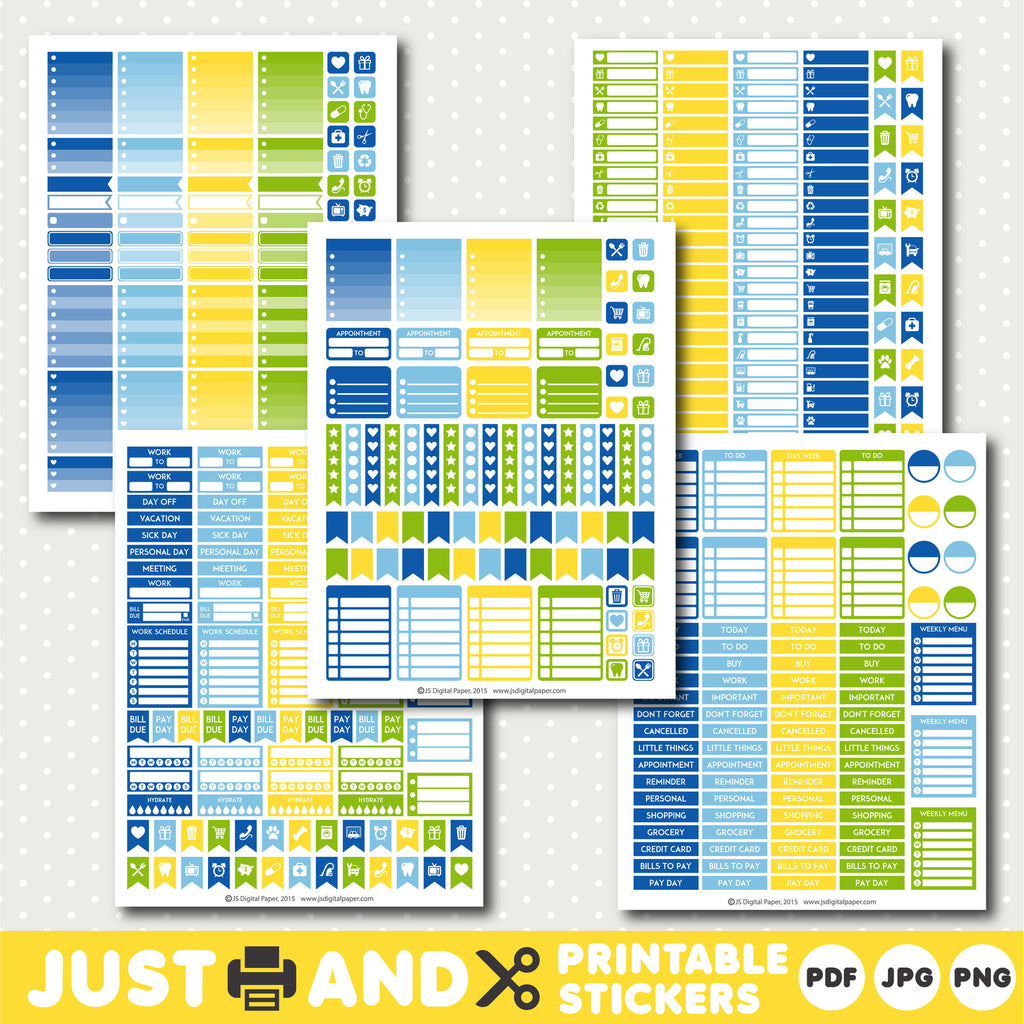 Green printable planner stickers with ombre sticker boxes, Green planner stickers, Yellow stickers, STI-969