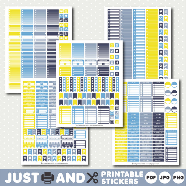 Blue printable planner stickers with ombre sticker boxes, Yellow planner stickers, Blue stickers, STI-973
