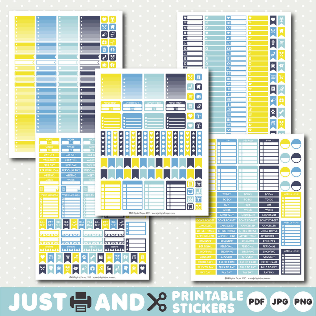 Blue printable planner stickers with ombre sticker boxes, Yellow planner stickers, Blue stickers, STI-974