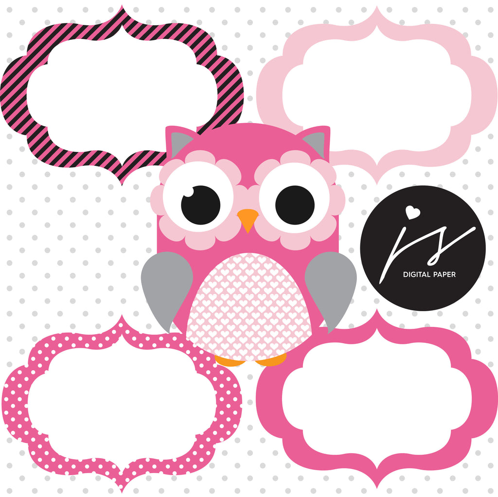 Baby Pink and Grey Owl Clipart with Digital Paper in ...