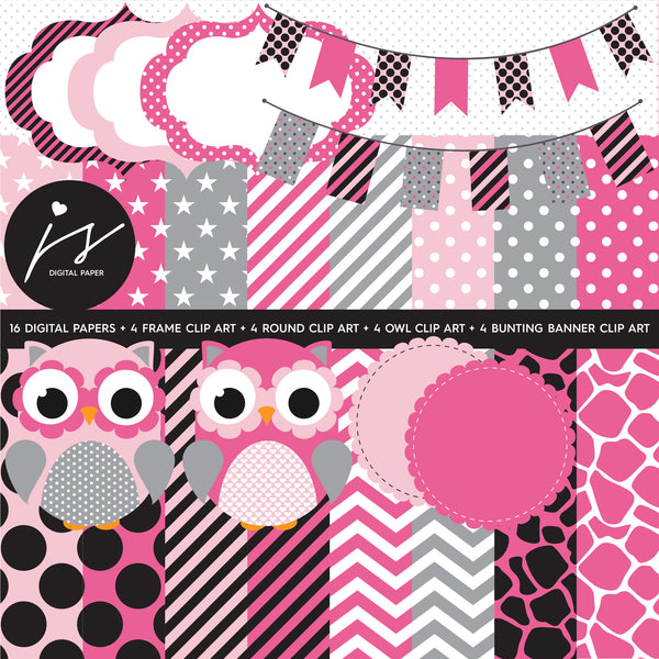 Baby Pink and Grey Owl Clipart with Digital Paper in Chevron Dots Stripes Stars Frames Circle Bunting Flag, SUP-02