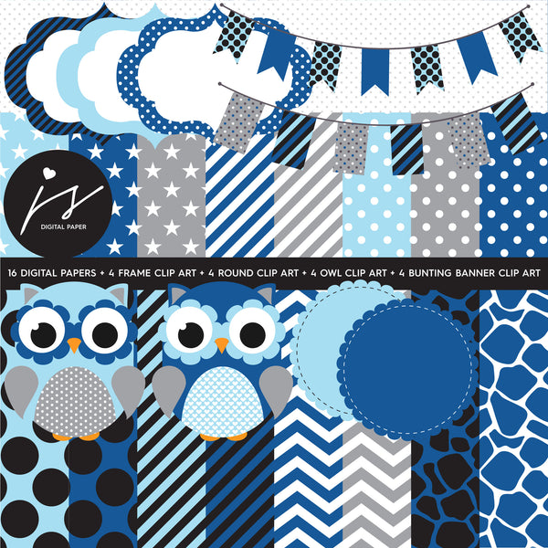 Blue Grey Owl Clipart with Digital Paper in Chevron Dots ...