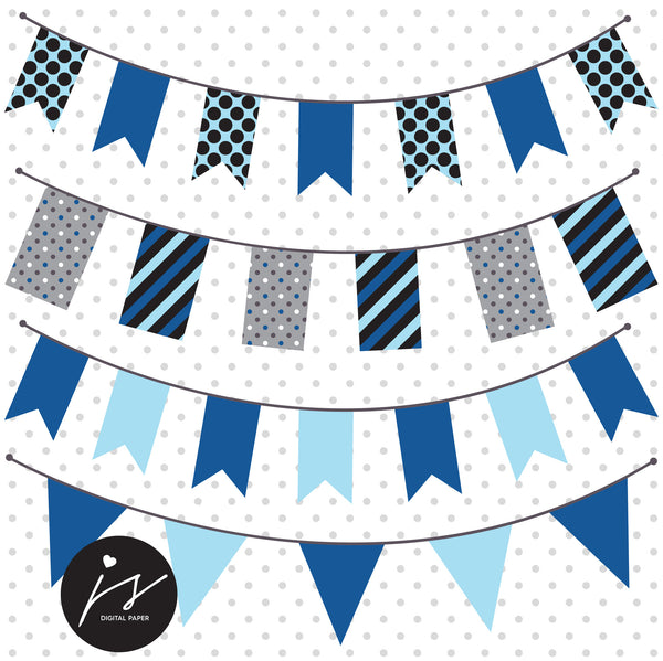 Blue Grey Owl Clipart with Digital Paper in Chevron Dots Stripes Stars Frames Circle Bunting Flag, SUP-04