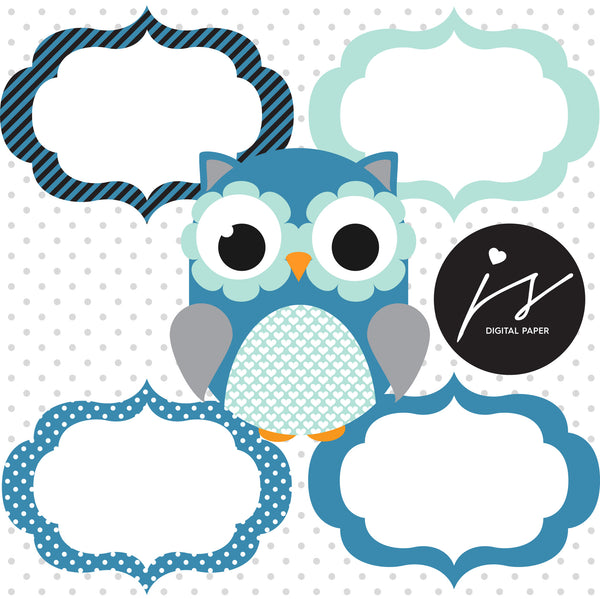 Blue Grey Turquoise Owl Clipart with Digital Paper in Chevron Dots Stripes Stars Frames Circle Bunting Flag, SUP-08