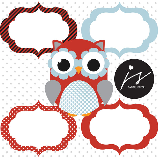 Red Blue Owl Clipart with Digital Paper in Chevron Dots Stripes Stars Frames Circle Bunting Flag, SUP-10