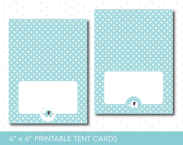 Blue elephant food tent cards with polka dots, TC-03