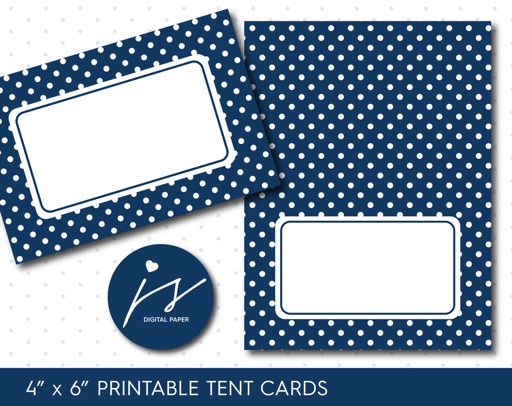 Navy blue printable party food tent cards with polka dots, TC-107