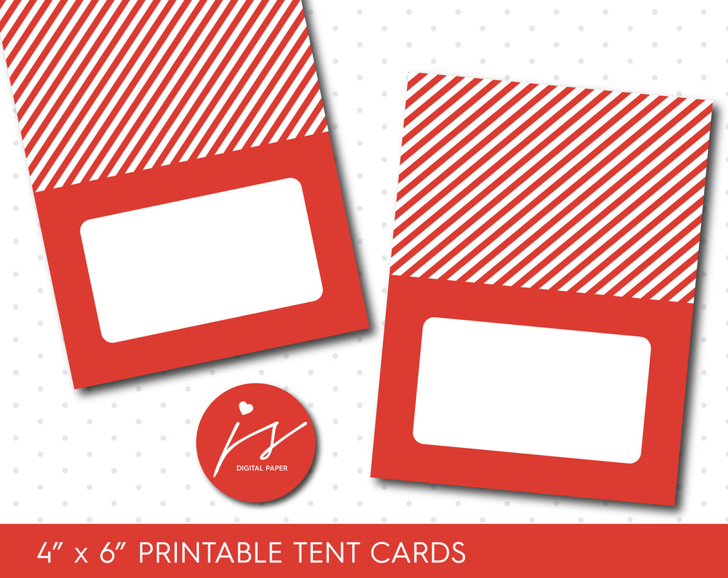 Red printable food tent cards, Baby Shower place cards, Birthday place cards, TC-141