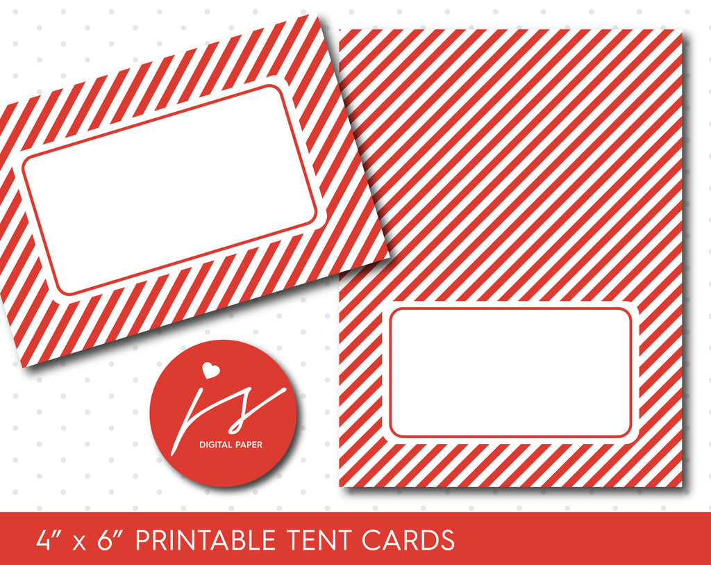 Red printable food tent cards with stripes for birthdays and baby showers, TC-142