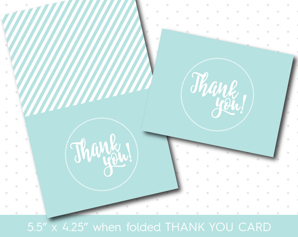 Baby blue thank you card, TC-170