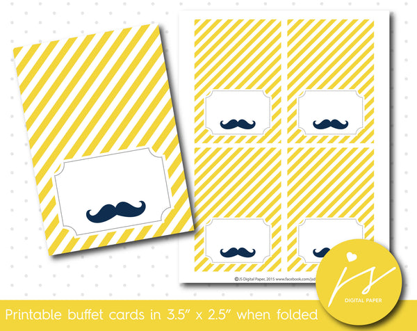 Yellow little man mustache buffet cards, TC-182