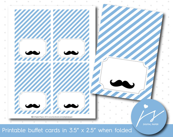 Ice blue little man mustache buffet cards, TC-196