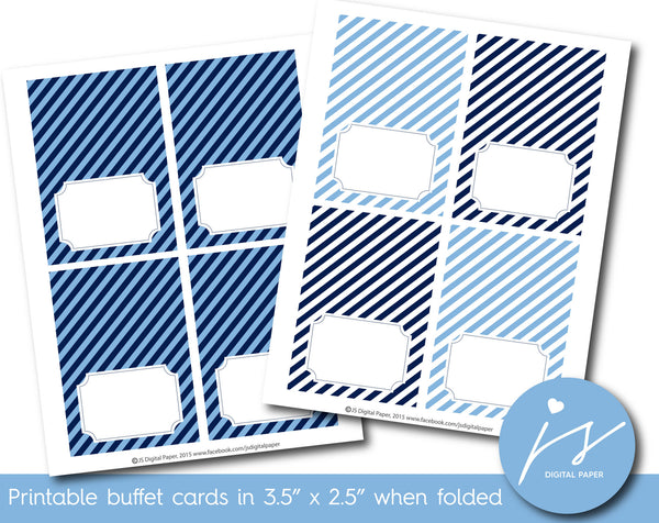 Blue and navy blue buffet cards with stripes, TC-202