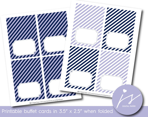 Lilac and navy blue buffet cards with stripes, TC-203