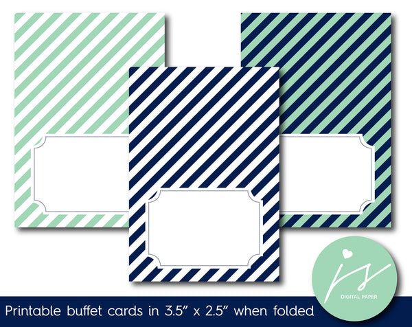 Mint green and navy blue buffet cards with stripes, TC-207