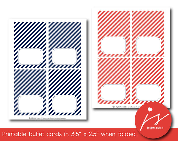 Red and navy blue buffet cards with stripes, TC-214
